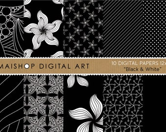 Digital Paper 'Black & White' Scrapbook Papers Abstract, Flowers, Stripes, Dots... for Scrapbook, Backgrounds, Invites, Cards...