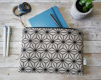 Planner pouch |  large zippered bag | bullet journal accessories | notebook case | geometric | accessory bag | A5 notebook pouch | book bag