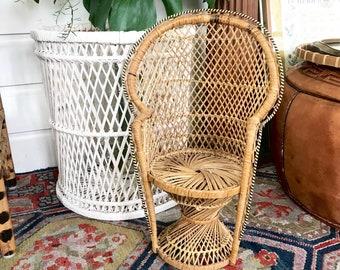 Vintage rattan peacock chair  • woven plant stand • Bohemian Decor