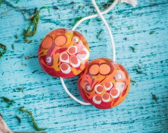 Orange red beads_big lentil shaped_artisan lampwork_set of two_abstract dotted pattern_20 mm bead pair_autumn fall colors_multipurpose DIY