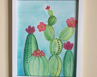 Original Framed Watercolor with Acrylic Painting Dotted Cactus Flower Art