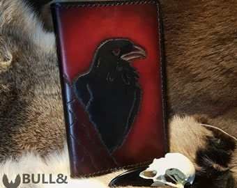 Raven Carved Leather Journal Cover