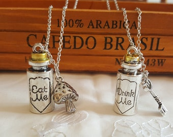 Alice in Wonderland Necklace, Drink Me Necklace, Silver Metal Charm Pendant Necklace, Alice 'Eat Men' 'Drink Me' Pendant
