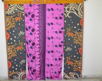 Indian partition curtain scarf curtain gypsy curtain hippy shower curtain boho Pink curtain recycled fabric floral scarf Paisley curtainCT28