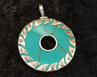 Mexican style boho Turquoise and Sterling Silver pendant