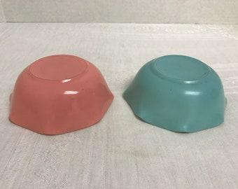 Hazel Atlas Ripple or Crinoline Pattern Cereal Bowl, Set of 2, Pink and Blue