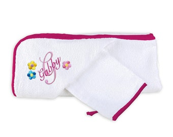 Personalized/Monogrammed Baby Girl Hooded Towel Set with Flowers and Initial