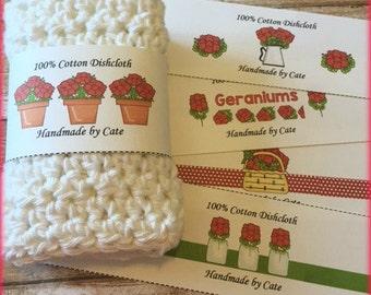 Geranium Dishcloth/Washcloth Label - PDF FILE ONLY