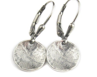 Disc Earrings - Oxidized Silver Earrings - Round Earring - Lightweight Earrings - Leverback Earrings - Hearty Dish Dangles (ES-WDS-LV)