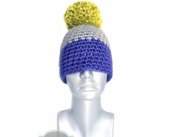 Periwinkle and Gray Chunky Beanie with Green Pom, Cobalt Blue Crochet Hat, Gray and Blue Winter Beanie With Puff, Pom Pom Knit Hat, Ski Cap