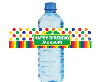 Sesame Street themed Primary Water Bottle Labels - Customized Digital File