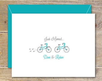 Wedding Thank You Cards, Tandem Bicycles, Just Married, Wedding Thank You Cards, Bridal Shower, Tandem Bike, Affordable Weddings