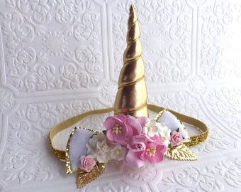 The Pink with White Gold Unicorn Goddess Floral Crown
