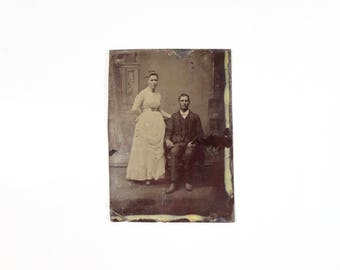 Vintage Tintype Photo of Couple / Husband and Wife Victorian Era Tintype / Man Woman Tintype Photograph