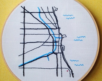 Chicago Map Embroidery Pattern