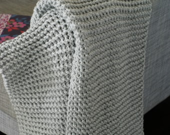 Chunky Knit Throw Blanket,  Knitted Blanket, Wool Blanket Throw Afghan, Grey Blanket Throw, Handmade Blanket,