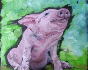 Morning Smile! Pig Art, Country art, Print of original painting 8 by 8 inches and other sizes available