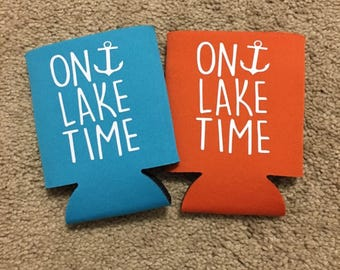 On Lake Time can cooler / beer huggie / drinkware / lake beer coolers