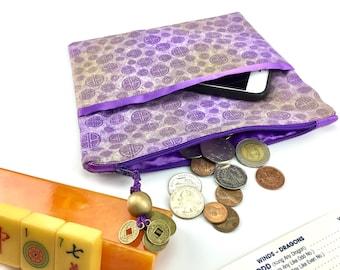 Coin/Card/Phone Purse ~ Mah Jongg ~ Mahjong ~ Gold Dust & Purple Luck