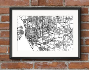 Buffalo Map Art Print – Light // Buffalo Poster | Buffalo Art | Buffalo Print // Free Shipping