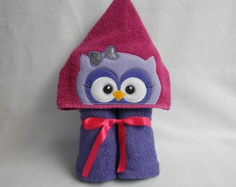 """Purple Owl Hooded Bath Towel. 9 1/2"""" Hood. READY TO SHIP!  Perfect gift! Can be personalized."""