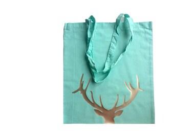 Reindeer Tote Bag, Bags, Deer Bag, Groceries, Deer Totes, Organic Cotton Tote, Blue, Aqua, Gold, Handmade, Canvas, Cotton, Hipster, Modern