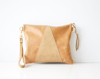 Leather crossbody bag / Leather Wristlet  / Leather clutch / Leather bag / Leather purse / Geometric leather bag  / Hazlenut leather bag
