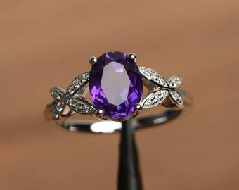 natural amethyst ring wedding ring February birthstone oval cut purple gemstone sterling silver butterfly shape