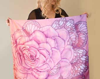 Pink Rose Scarf, Silk scarf, Pink scarf, Hand Painted silk scarf, square scarf
