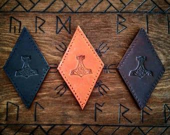 Leather Mjölnir Patch Thor's Hammer Biker Heathen Pagan Viking Berserker Badge