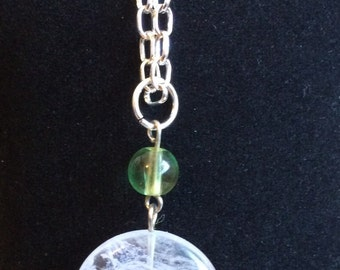 Sterling silver fancy link chain with Natural quartz pendant