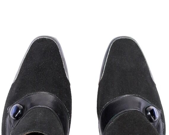 Shoes in Loafer Wide 6 Leather US Fit Black Heels 39 UK Suede 9 5 size 80s Made 5 Witchy Formal Italy Vintage Footwear Heels EUR Pumps UnwqtvaSwx
