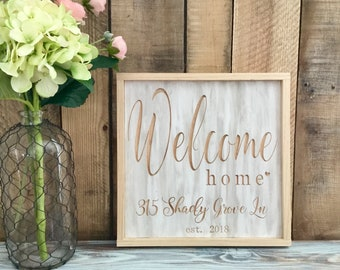 Our first home, Welcome Home, Housewarming gift, Wood Signs, Personalized Gift, Address Sign, Wall Decor, Framed Wood Sign, Gift for her