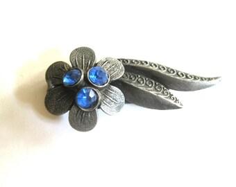 Fur Clip Blue Floral Rhinestone Gunmetal Silver 1920s