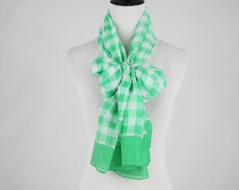 Vintage Gingham Green and White Large Oblong Scarf Shawl