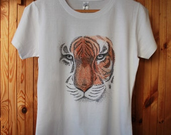 Tiger Top. Top for girl or women. Ink drawing tiger on top.