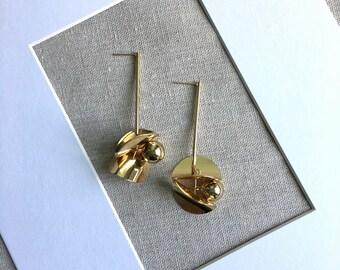 Onliest gold color long drop petaloid beaded earrings dangle earrings handmade handcrafted statement chic earrings