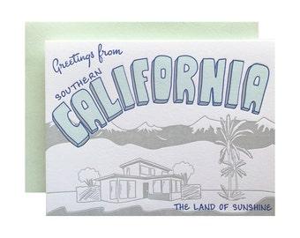 Letterpress Southern California Card, Socal Postcard Style, vintage retro mid century, greetings, los angeles, san diego, hollywood, LOS01