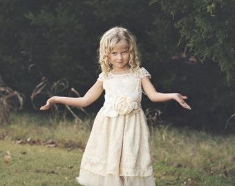 flower girl dresses - lace flower girl dress - ivory lace girl dresses  - toddler dresses - rustic girl dress - country flower girl dress