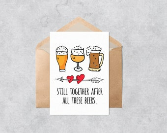 Printable Anniversary Card - Beer Glasses - Instant Download PDF Printable Love or Valentine's Day Card - Cut and Fold Greeting Card