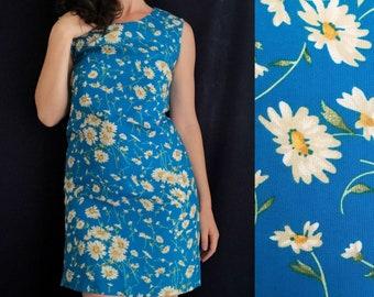 Handmade 1990s does 1960s Cerulean Daisies Sheath Dress