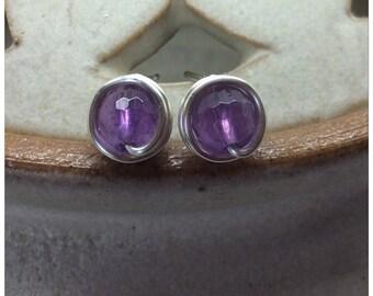 Amethyst Wire Wrapped Studs Amethyst Studs Amethyst Posts Genuine Gemstone Earrings Amethyst Earrings February Birthstone Purple Studs UK