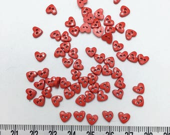 100 pcs of Tiny Red Heart Button  - 6mm