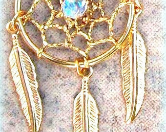 Dream catcher necklace - Seeds of Light ll - Gold dreamcatcher with swarovski crystal and three feathers