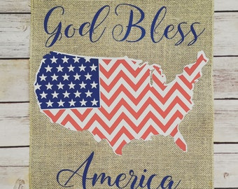 God bless America flag, American flag, 4 the of July flag, 4 th july decor, outdoor flag, burlap flag, america decor