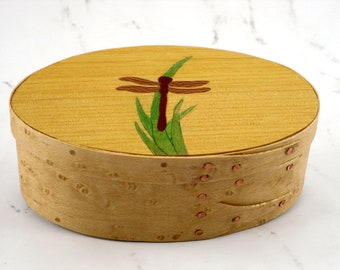 Shaker oval box with dragon fly inlay dragon fly jewelry box marquetry veneer gift for her