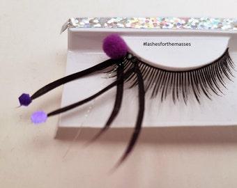 Purple Pom Pom Feather Eyelashes