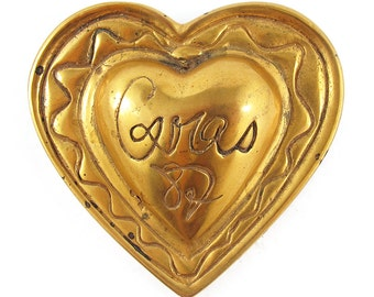 Christian Lacroix Vintage Signed Gold Tone Logo Heart Brooch c. 1990