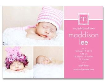 Baby Girl (Madison) 5 x 7 Geburt Ankündigung Fotograf Vorlagen