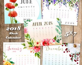 CLEARANCE! Calendar, 2018 floral desk calendar, colorful 5x7 desktop calendar, watercolor florals, Good Frau calendar design